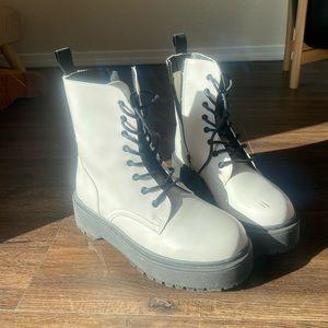Yoki Faux Leather White Platform Combat Boots